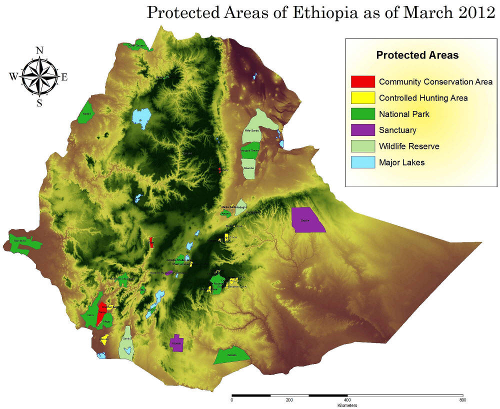 LATEST ANIMALS AND NATIONAL PARKS OF ETHIOPIA LIST [2020 pdf]: 2012 MAP