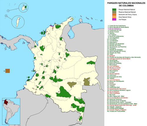 BEST NATIONAL PARKS OF COLOMBIA LISTS ALL PROTECTED AREAS: NATIONAL MAP