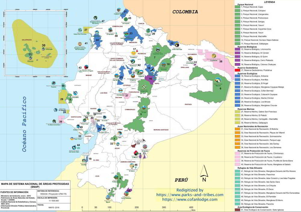 ECUADOR 2017 51 PROTECTED AREAS/NATIONAL PARKS MAP